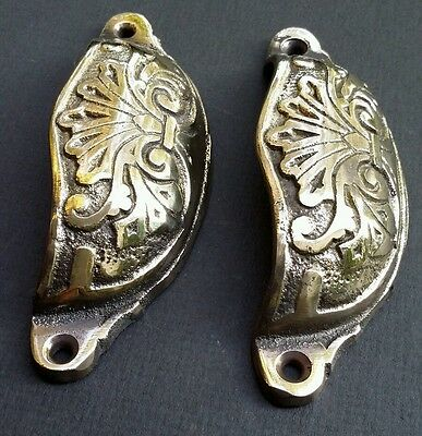 "2 Apothecary Drawer Pull Handles ""polished"" 4 1/8"" Antique Victorian Style #A1 4"