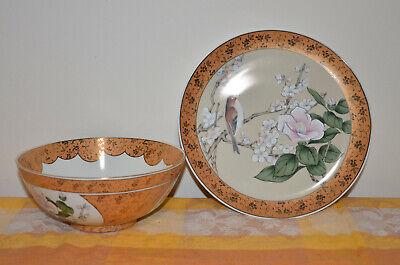 Japanese Kutani-ware Flower Bird pattern Bowl and Plate set Gold Cherry Blossom. 3