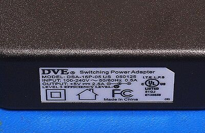 NEW DVE DSA-15P-05-US     5V 2.5A Power Supply Charger AC 2