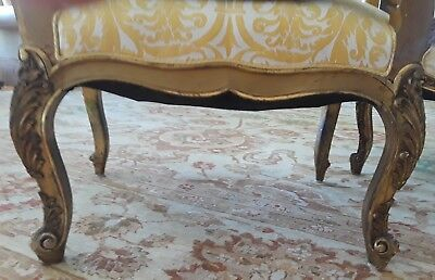 A SET OF FOUR SENSATIONAL French Louis XV Style (19th Cent) Gilt Armchairs 7
