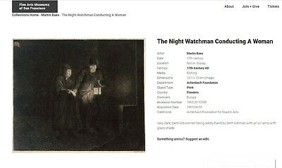 Martin Baes  etching The Night Watchman Conducting a Woman (Rembrandt) 5
