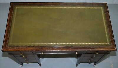 115Cm Victorian Rosewood Marquetry Inlaid Writing Partner Desk Green Leather 4