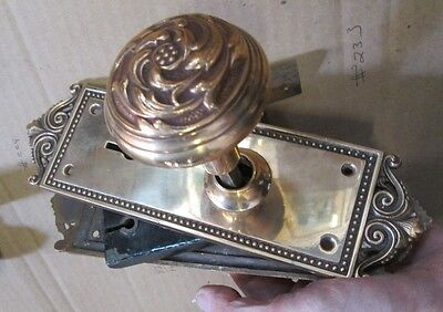 Complete Set Highly Polished Brass Victorian Door Knob Combination W/ Lock # 233 3