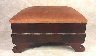 Antique Empire Mahogany Footstool w/ Upholstered Top 2