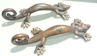 2  aged small GECKO solid brass door antique old style PULLS handle 22cm knobs B 5