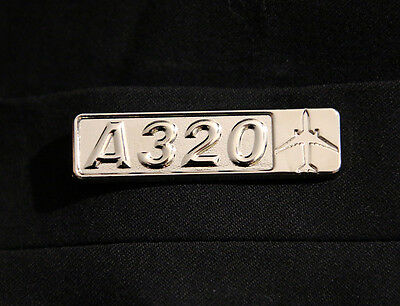 Pin Airbus A320 Rectangle Label for Pilots Crew Maintenance metal silver pin