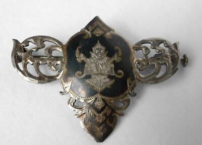LOT Vintage 1930s Siam Sterling Thai Nakon Dancers Niello 2 Pins+3 Pair Earrings 6