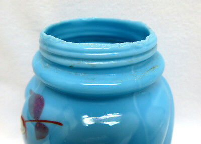 Glass Sugar Shaker Muffineer ~ Hand Painted Floral on Blue Opaline 8
