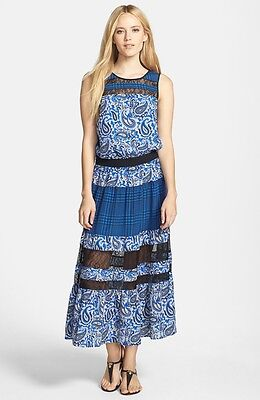 Michael Kors Blue Lazio Paisley Plaid Print Tiered Maxi Dress W Lace