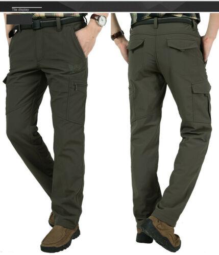 Men's Thermal Winter Pants Fleece Lined Elasticated Work Cargo Combat Trousers 9