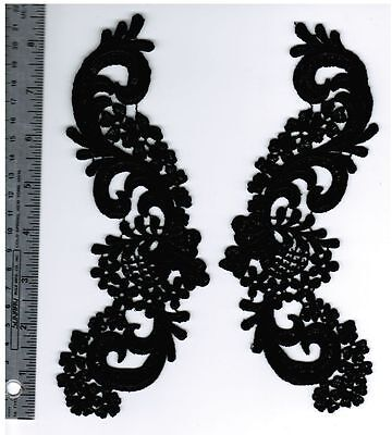 Venice Lace Black applique Rayon Crafts Hats Trim Motifs  #1552 2 pc