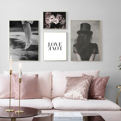 Rose Flower Girl Black Whtie Wall Art Canvas Poster Nordic Fahion Print Painting 2