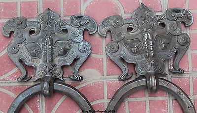 "13"" Chinese FengShui Purple Bronze Guardion Beast Animal BiXie Door Knocker Pair 2"