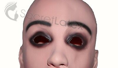 LATEX FEMALE MASK CROSS DRESS TRANSGENDER RUBBER HOOD MOUTH SHEATH LADY WOMAN