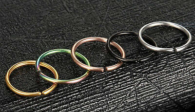 Nose Ring Septum Ball Steel Piercing Hoop Ear Jewellery Eyebrow Lip Rook Thin UK 2