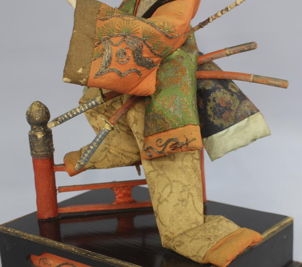"Antique Japanese Samurai of Kabuki Actor Large Doll Around 1800 Edo Period 17"" 7"