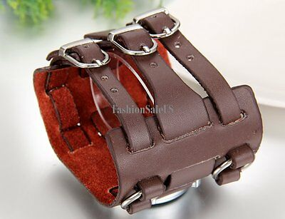 Roman Numerals Personality Decoration Mens Sport  Wrist Watch Wide Leather Band 3
