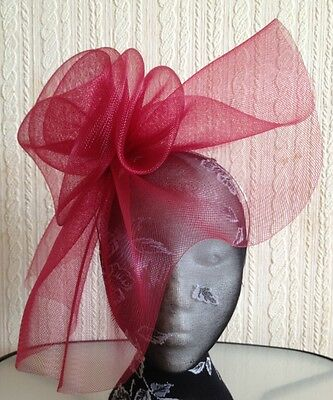 dark red maroon burgundy headband fascinator millinery hat wedding ascot race 2