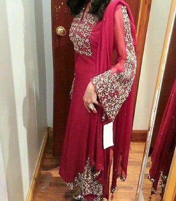 Deep red / Burgundy Silk  Heavy Jewelled Diamante work long kameez/pajama suit 2