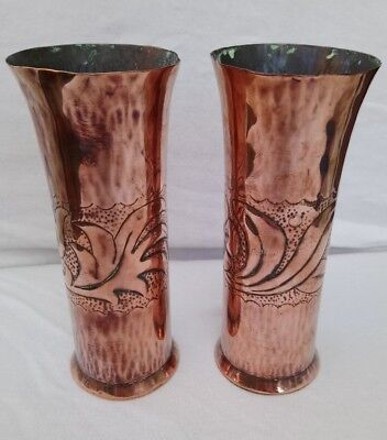 Arts & Crafts pair of Copper vases - believed to be Keswick KSIA 5