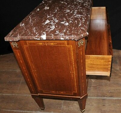 Antique French Empire Chest Drawers Commode Circa 1920 Marquetry Inlay 12