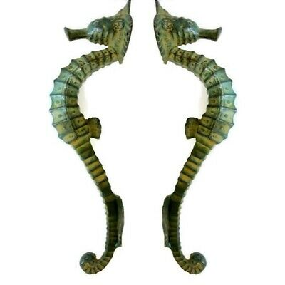 """4 small SEAHORSE solid brass door AGED GREEN old style house PULL handle 10"""" B 2"""