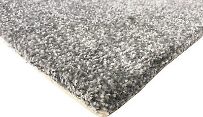 Bleach Cleanable Soft Saxony SILVER Grey Carpet Hessian Back FAST FREE DELIVERY 3