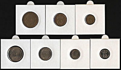 NORWAY SET OF 6 COINS 1 2 5 10 25 50 ORE 1970-2011 UNC