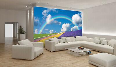 VLIES Fototapete-REGENBOGEN- 018 -Lavendel Wiese Feld Blumen Wolken Himmel Sonne
