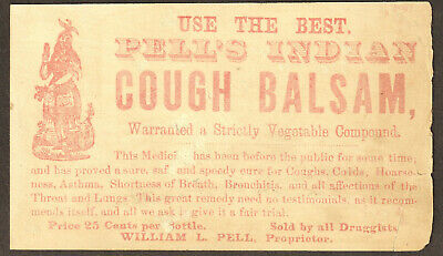 Pell's Indian Cough Balsam Cure Asthma Remedy bottle card Victorian Advertising 7