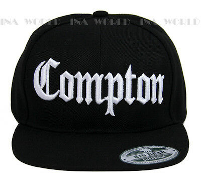 a517c955abf ... COMPTON hat 3D embroidered Snapback Baseball cap Flat Hiphop Bill -  Black White 2