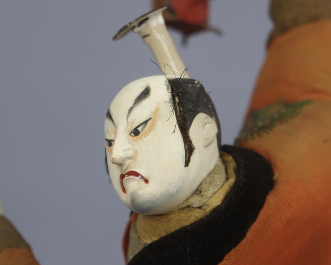 "Antique Japanese Samurai of Kabuki Actor Large Doll Around 1800 Edo Period 17"" 5"