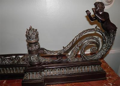Ornate Bronze Figural Mythological Fireplace Fender Chenet 5