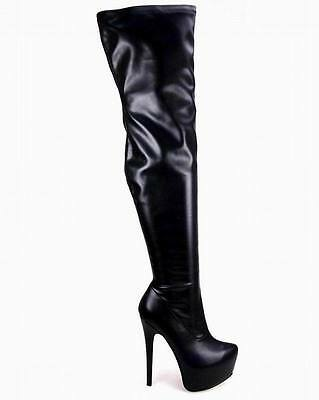 f71135eb5c2 ... Ladies Womens Black Over Knee Thigh High Heel Stretch Suede Leather  Boots Shoes 7