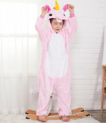 Kids Boy/Girls Rainbow Unicorn Kigurumi Animal Cosplay Pajamas Costume Sleepwear 7