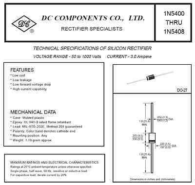 10x 1N5408 Diode DO-27 (3A 1000V) von DC COMPONENTS