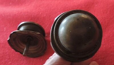 Pair Antique 19th c. Spun Brass Furniture Knob Drawer Pull Handle Federal Door 7