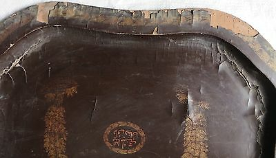 Antique BLACK LACQUER Gold PAINTED Wood Serving Tray Mughal ISLAMIC Persian 5