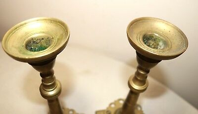 pair of  rare antique solid 18th century 1700's brass candlestick candle holder 7