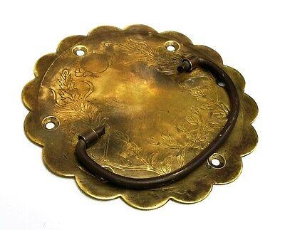 PAIR....Antique Hardware Brass Drawer Pull Trunk Part Chest Handle Salvaged Part 9