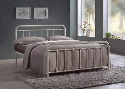 Miami Vintage Metal Bed Frame In Black Ivory Or Grey Finish Single Double King 2