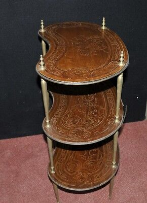 Pair Antique French Empire Shelf Unit Bookcase Kidney Bean Tier 3