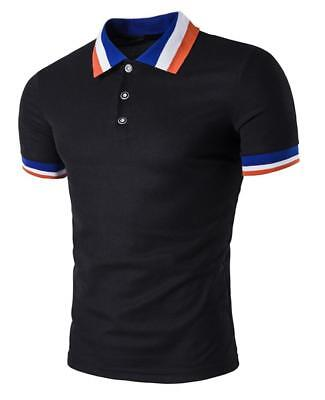 New Men's Slim Fit POLO Shirts Solid Short Sleeve Casual Golf T-shirt Tee Tops 8