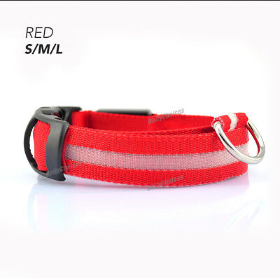 USB Rechargeable LED Dog Collar Nylon Glow Flashing Light Up Safety Pet Collars 11