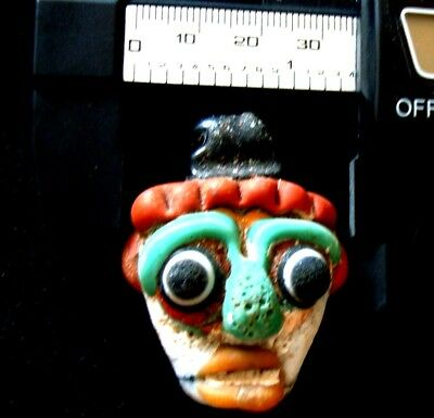 Antique Phoenician Handmade Mosaic Glass Face Pendant 455 11