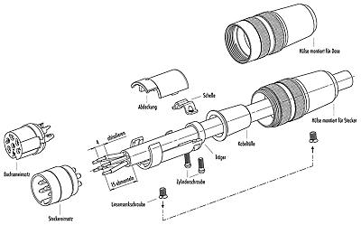 Kleintuchel-Stecker 3-pol. männlich BINDER Rundsteckverbinder 09 0305 02 03