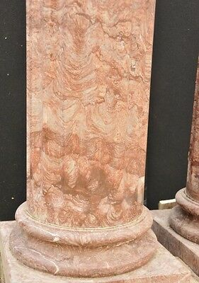 Pair Large Italian Tuscan Marble Column Pedestal Stands 7