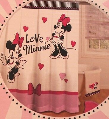 Disney Minnie Mouse Pink Black Ooh La Fabric Shower Curtain Bow Hooks Set