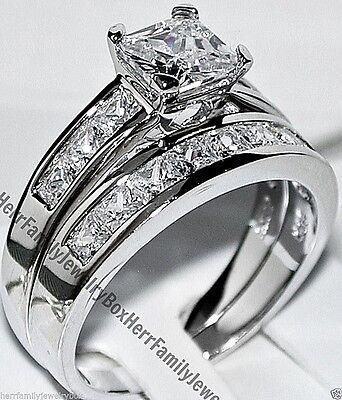 Sterling Silver 14k White Gold Princess Diamond cut Engagement Ring Wedding Set 2