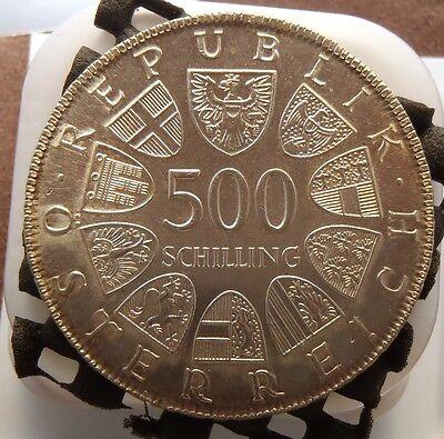 1980 Austria Silver 500 Schilling 25th Anniversary - State Treaty KM# 2948
